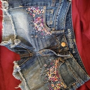 American Eagle outfitters cut out blue denim short